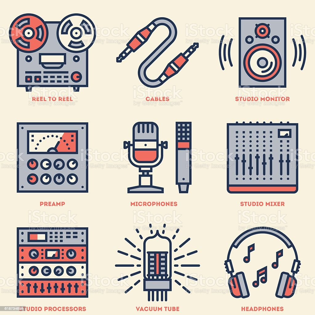 Analog Recording Music Studio. Line Design Retro Icon Set. vector art illustration