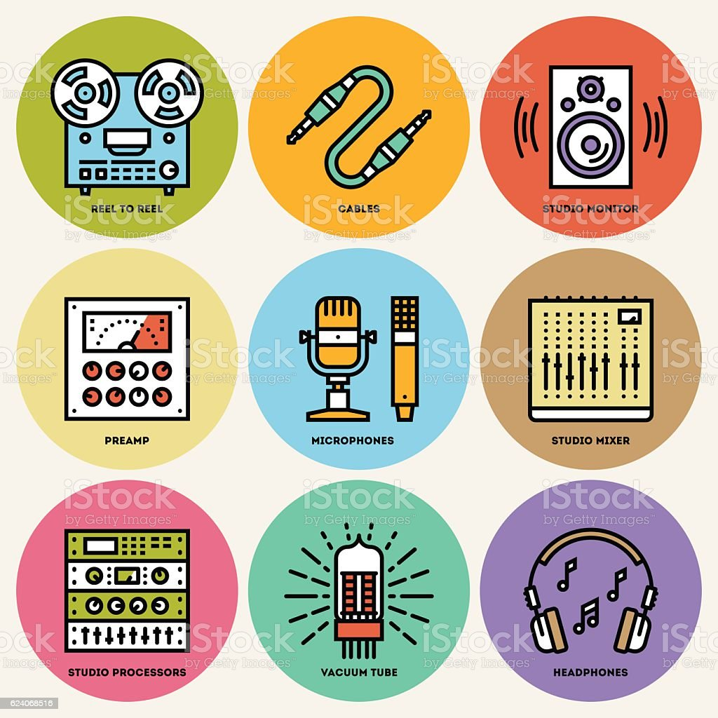 Analog Recording Music Studio. Line Design Round Icon Set. vector art illustration