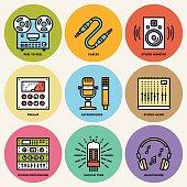 Analog Recording Music Studio. Line Design Round Icon Set.