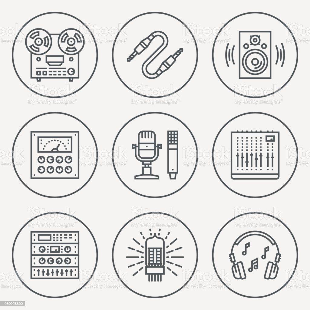 Analog Recording Vintage Music Studio. Line Design Circle Icon Set. Vector Illustrations. vector art illustration
