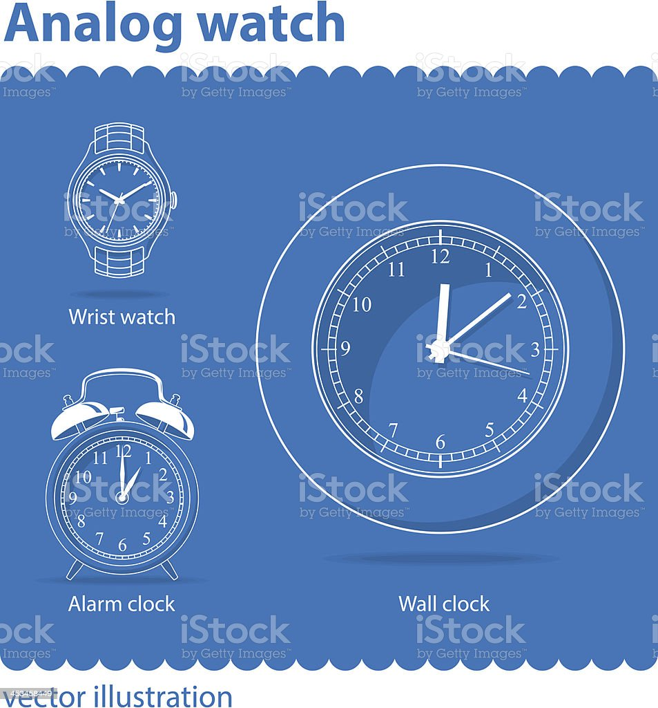 Analog watch vector art illustration