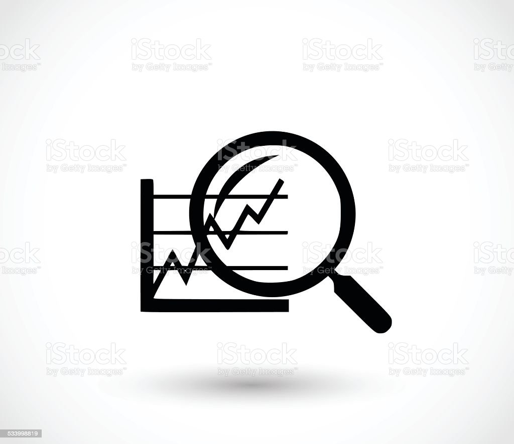 Analyse icon - magnifier and graph vector illustration vector art illustration
