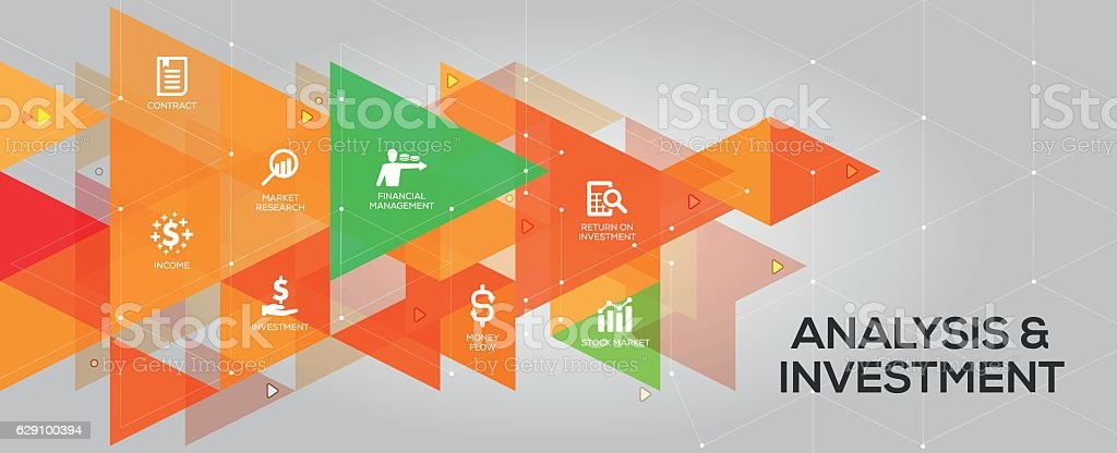 Analysis and Investment banner and icons vector art illustration