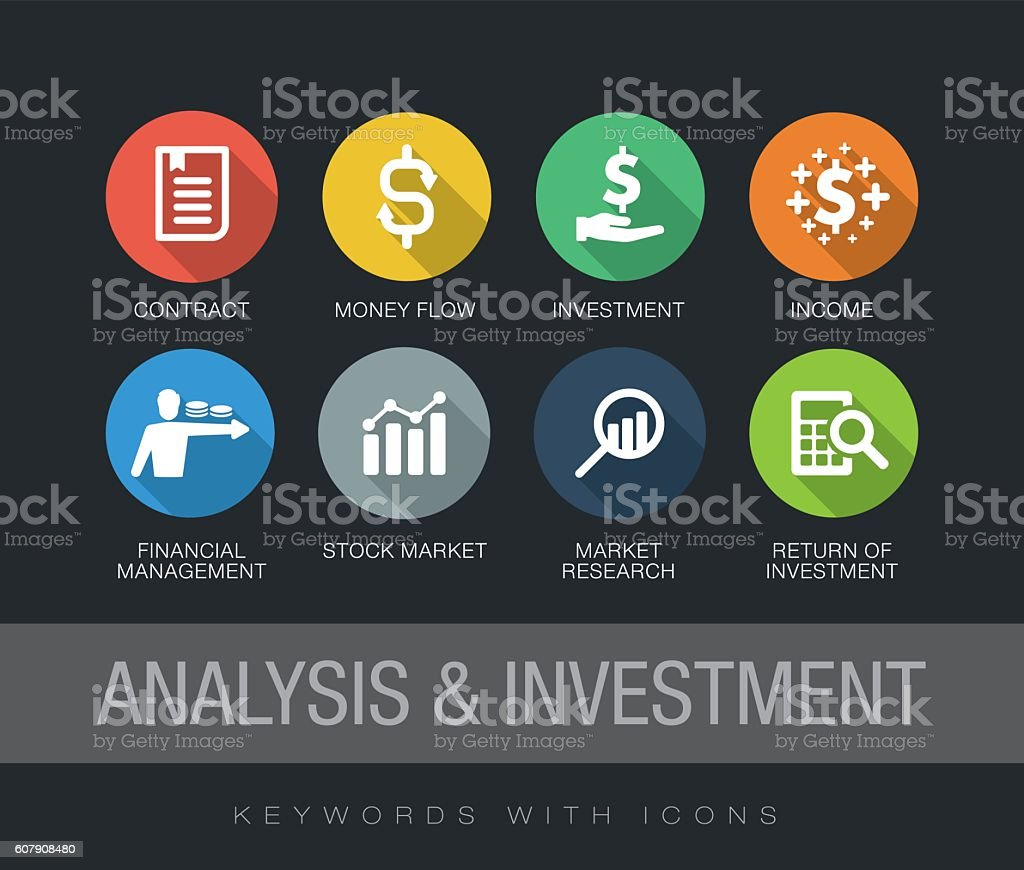 Analysis and Investment keywords with icons vector art illustration