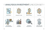 Analysis and Investment keywords with line icons