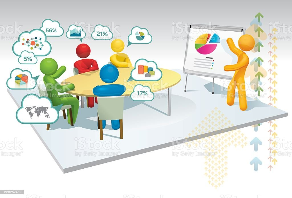 Analysis Meeting Info graphic vector art illustration
