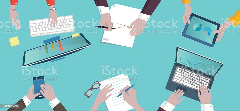 analytic business meeting flat design on top illustration vector art illustration