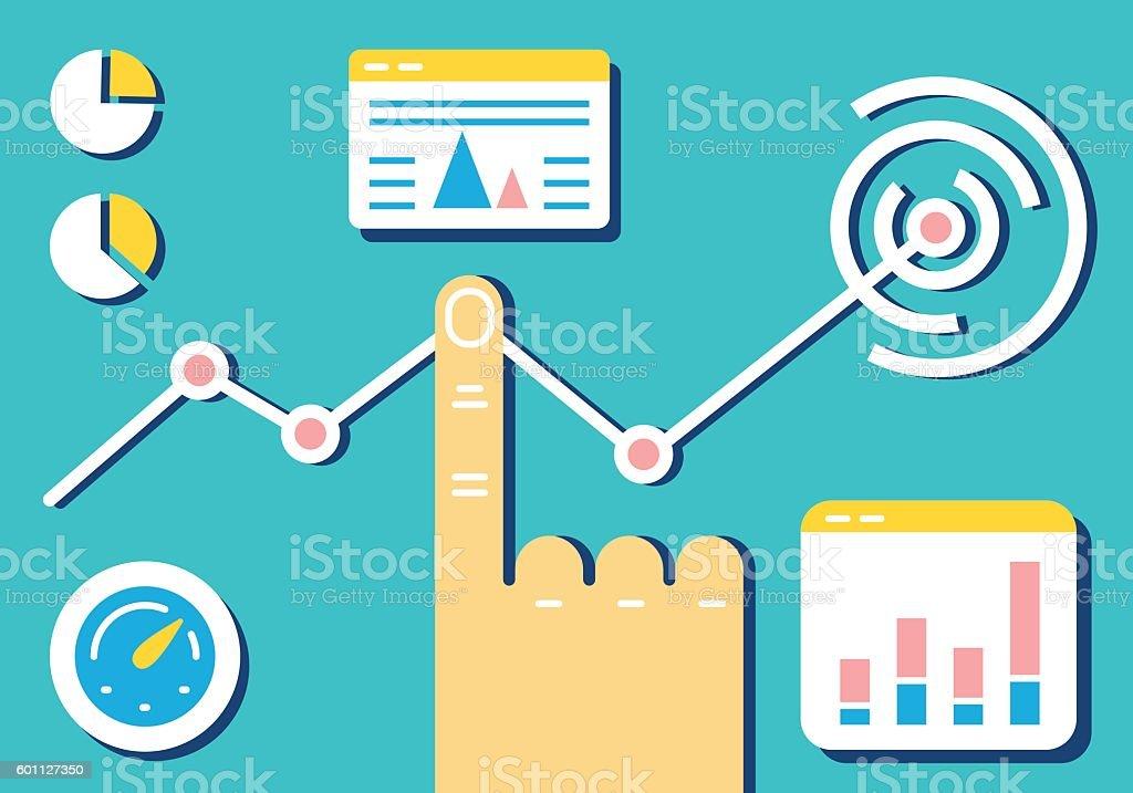 Analytics and e-management of data on dashboard vector art illustration