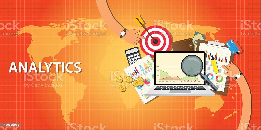 analytics data from website and get traffic vector art illustration