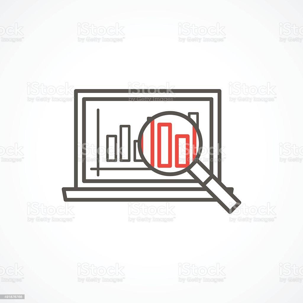 Analytics icon in trendy linear style vector art illustration
