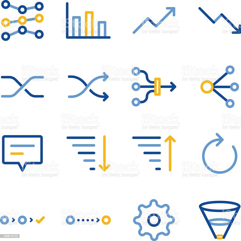 Analytics icon set vector art illustration