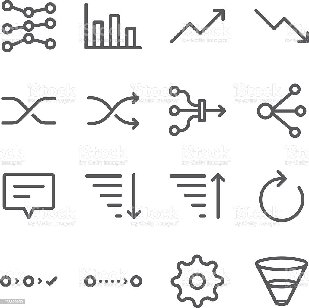Analytics icons set vector art illustration