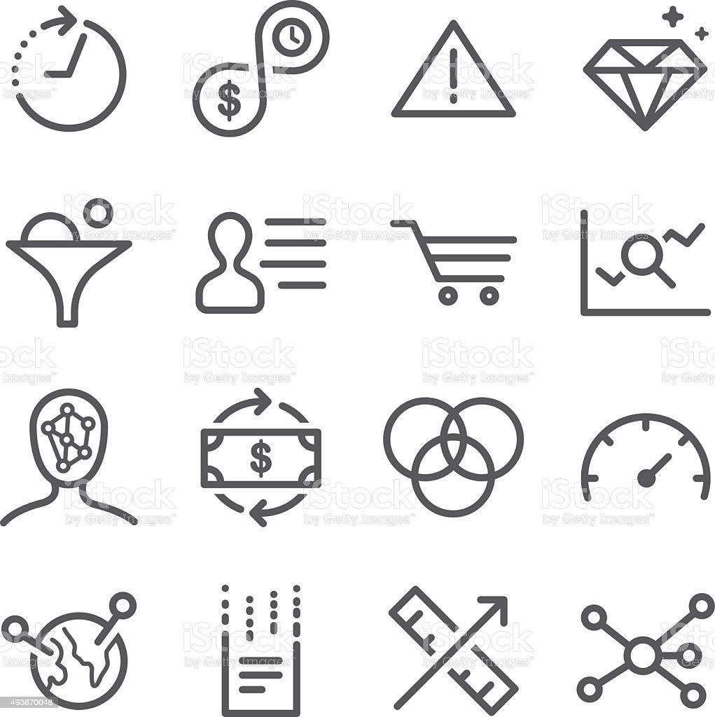 Analytics icons set vector art illustration