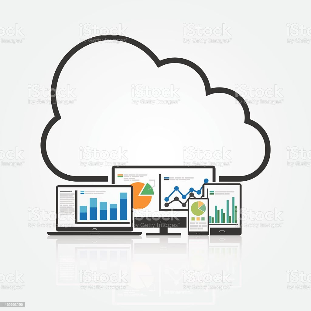 Analyzing Big Data with Cloud Technology vector art illustration