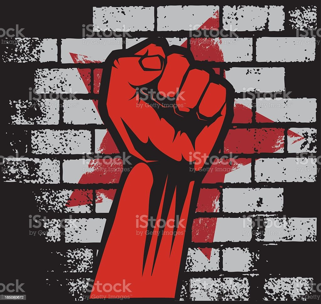 Anarchic style image of red fist against brick backdrop vector art illustration
