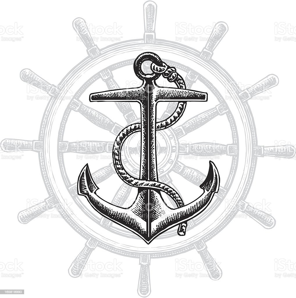 Anchor and Rudder - Nautical Graphic royalty-free stock vector art