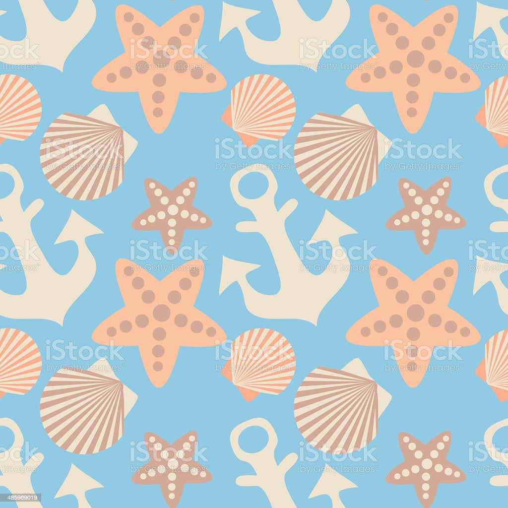 anchor and seashell seamless pattern vector art illustration
