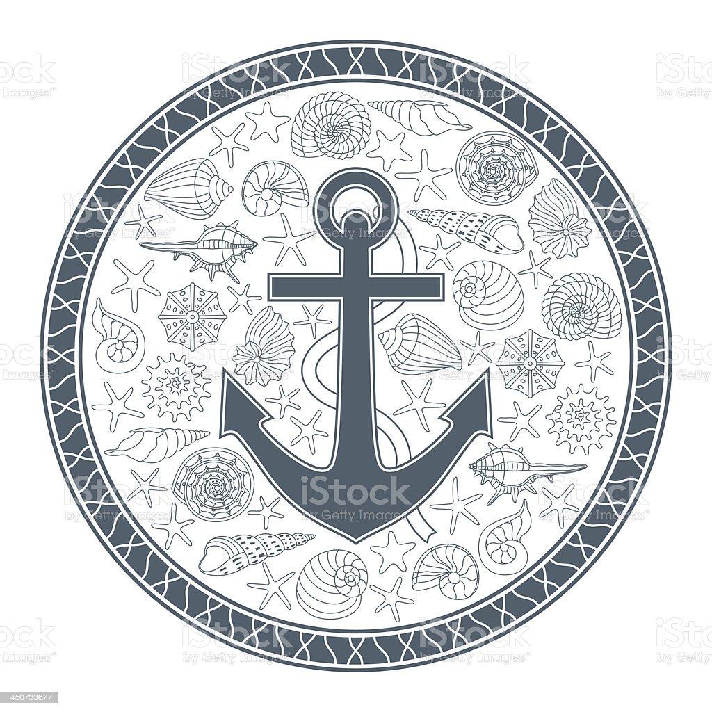 anchor and seashells royalty-free stock vector art