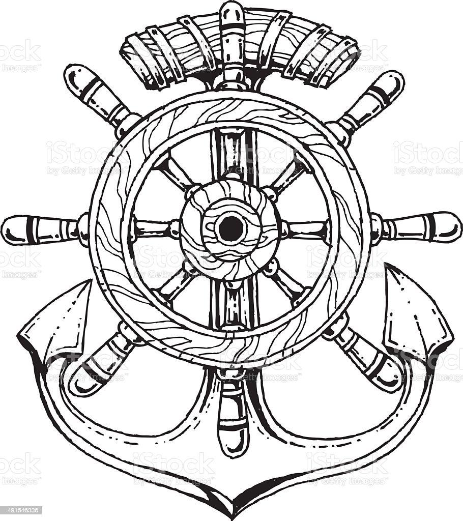 Roue de bateau et dancre stock vecteur libres de droits 491546336 istock - Dessin ancre bateau ...