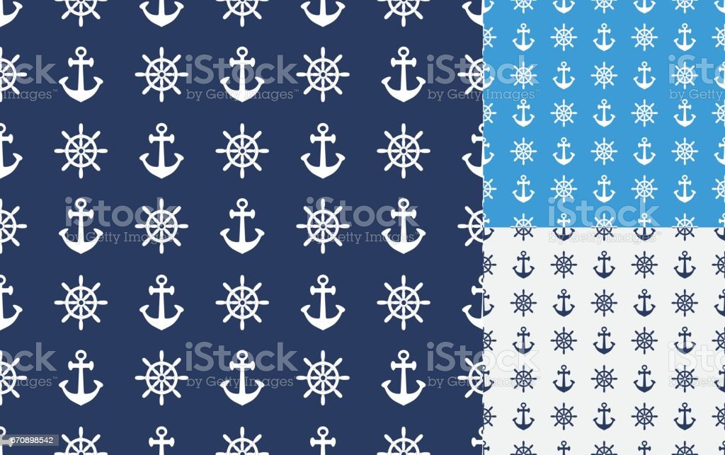 Anchor and steering wheel seamless background vector art illustration