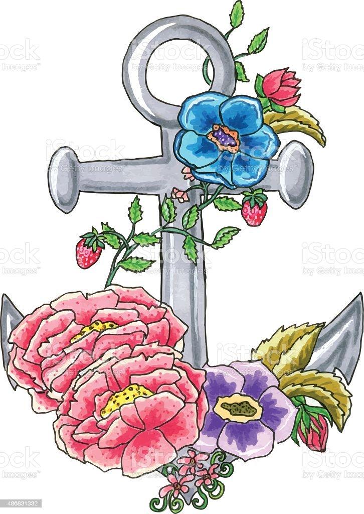 Anchor bloom vector art illustration