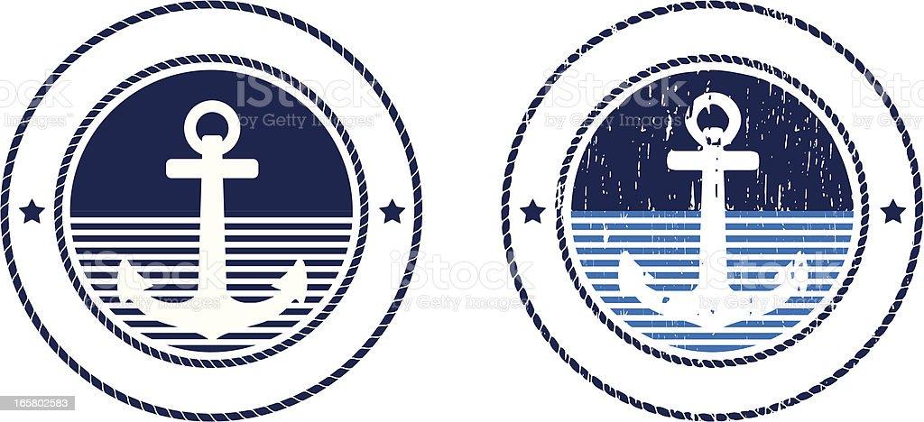 Anchor emblem in light and dark blue royalty-free stock vector art
