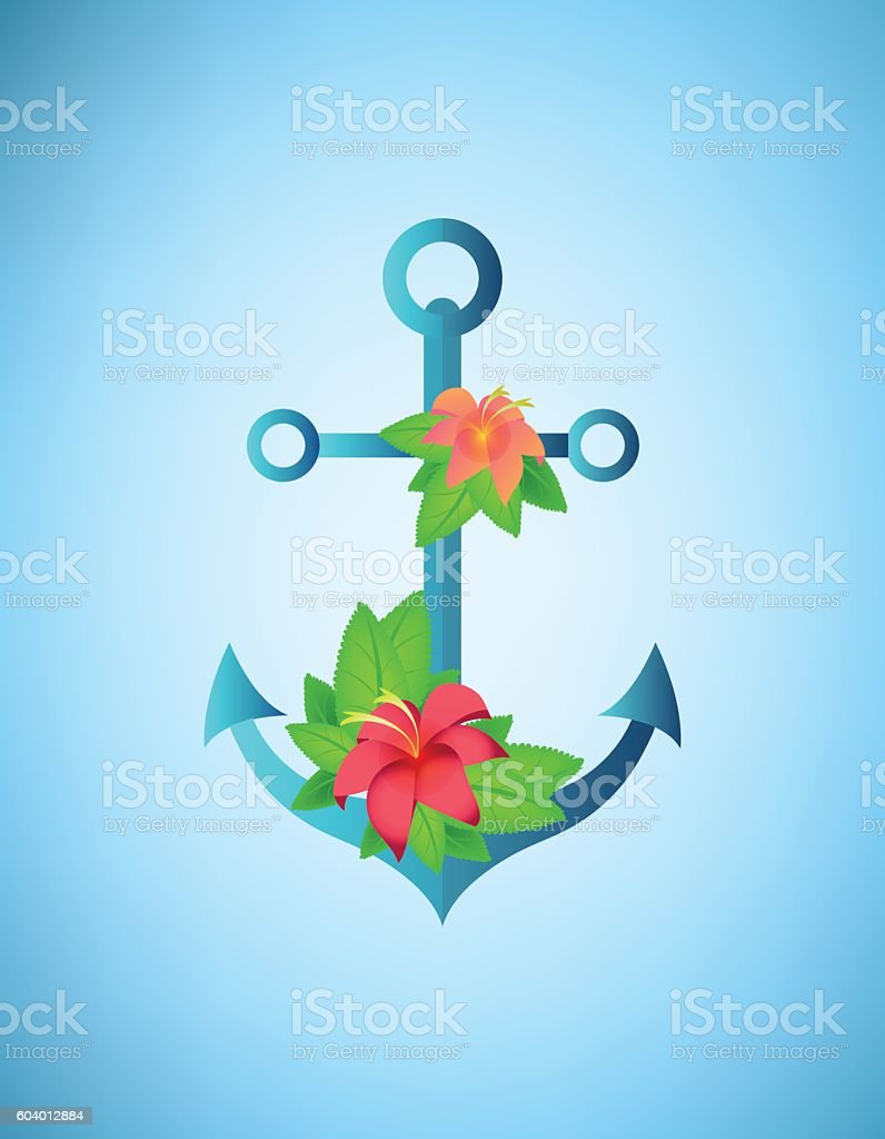 Anchor, hibiscus flowers and palm leaves retro vector illustration vector art illustration