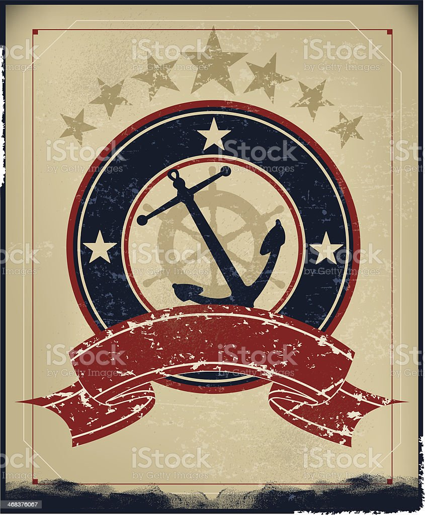 Anchor Nautical Retro Background vector art illustration