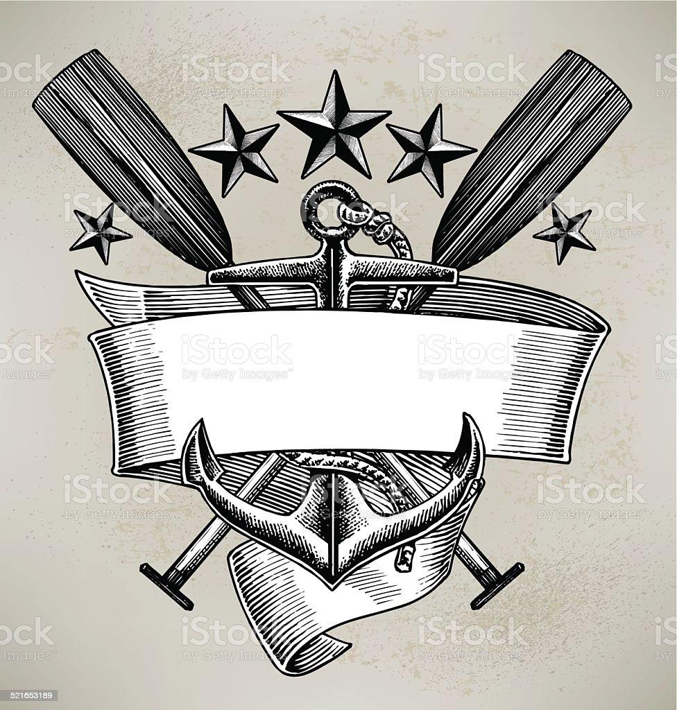 Anchor Oar Sailing Banner Background vector art illustration