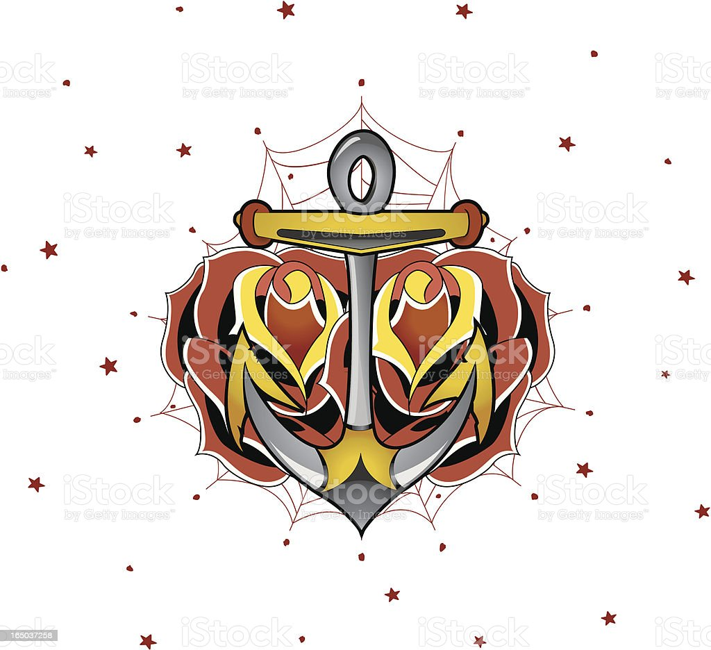 Anchor & Rose - Traditional Tattoo Style vector art illustration