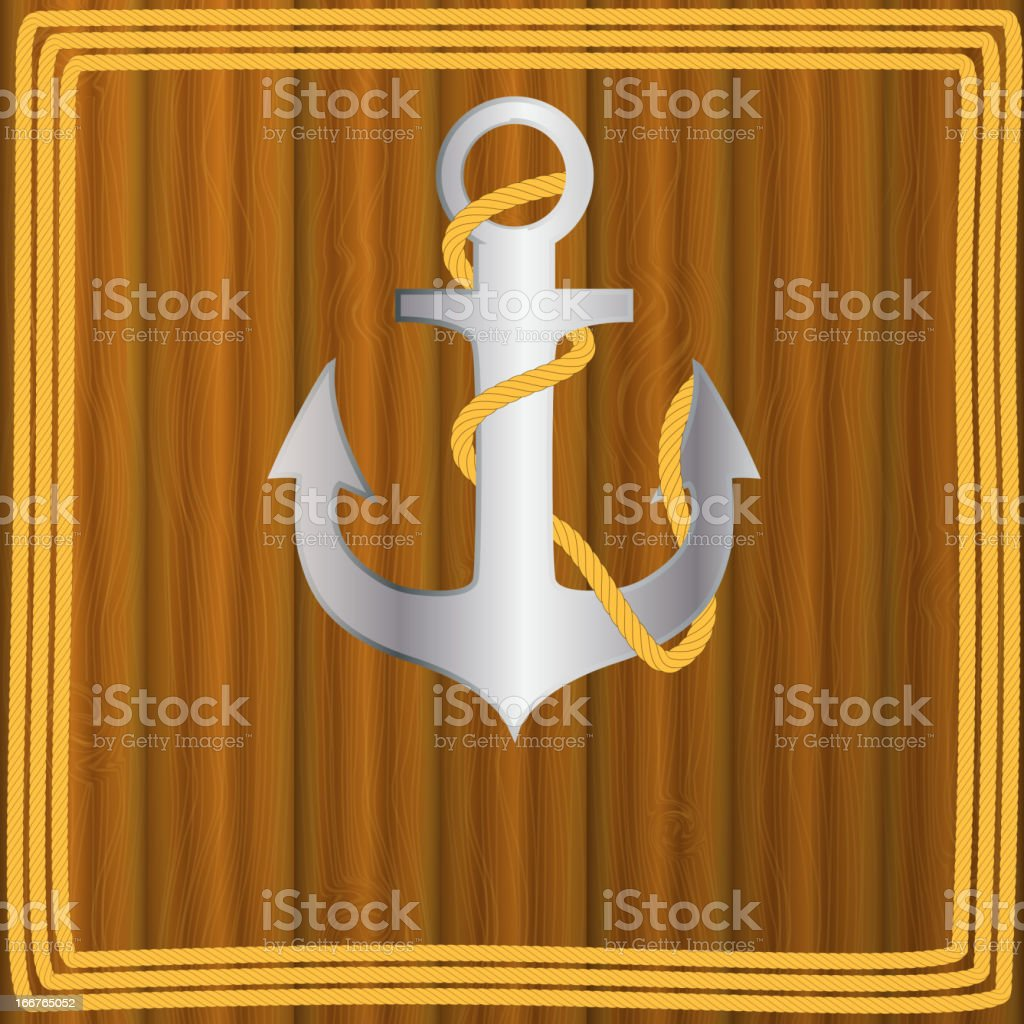 Anchor stencil on wooden background vector royalty-free stock vector art