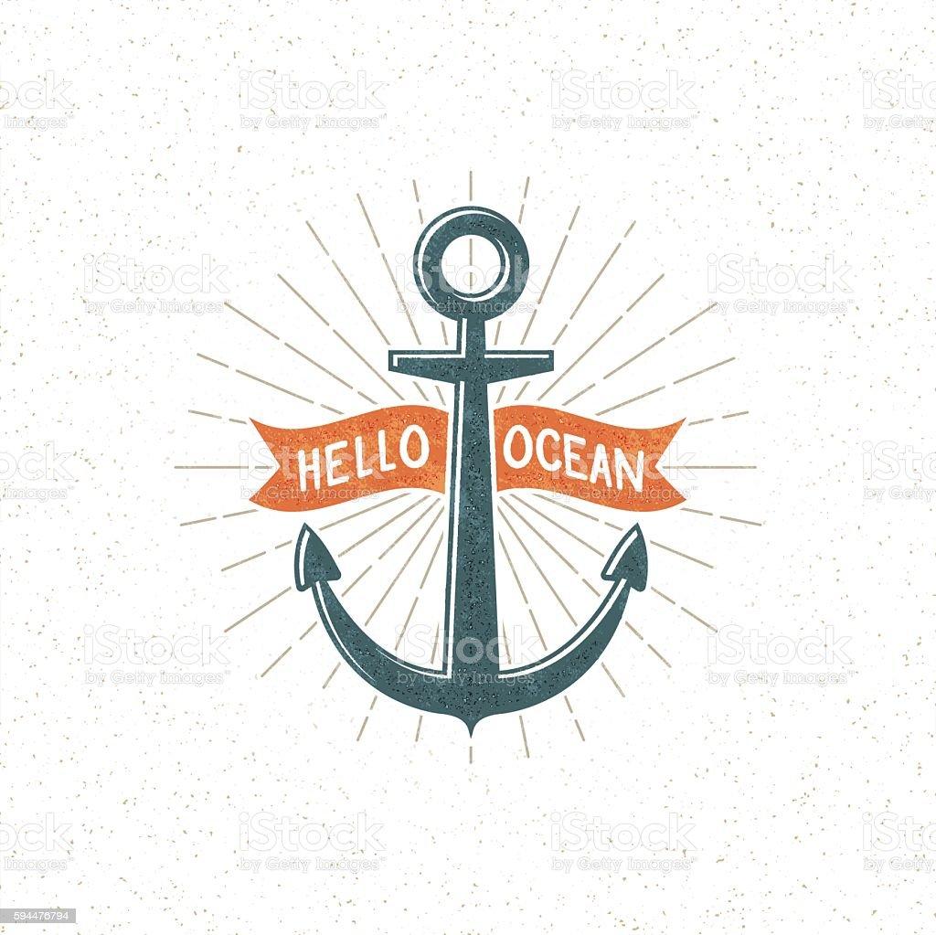 anchor vintage logo vector art illustration