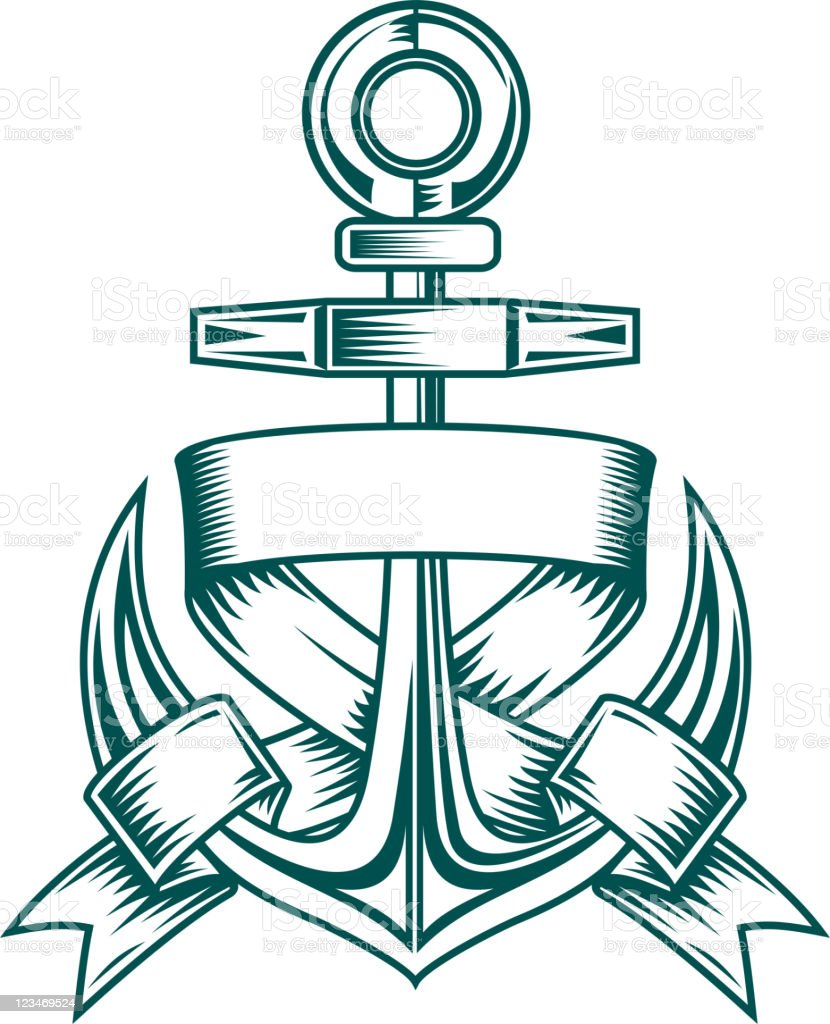 Anchor with ribbons royalty-free stock vector art