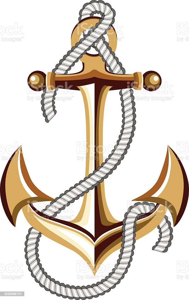 anchor with rope vector art illustration