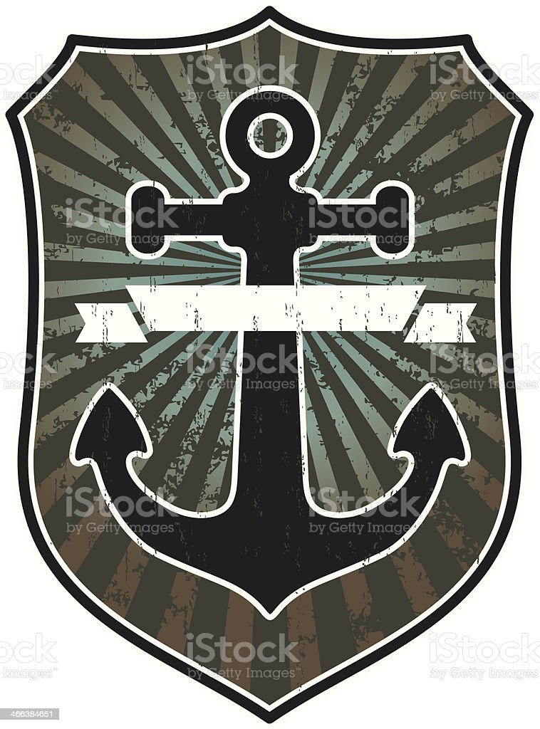 anchor with shield and banner vector art illustration
