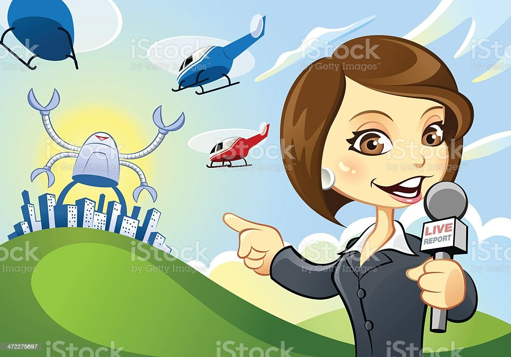Anchor woman reporting from the scene royalty-free stock vector art