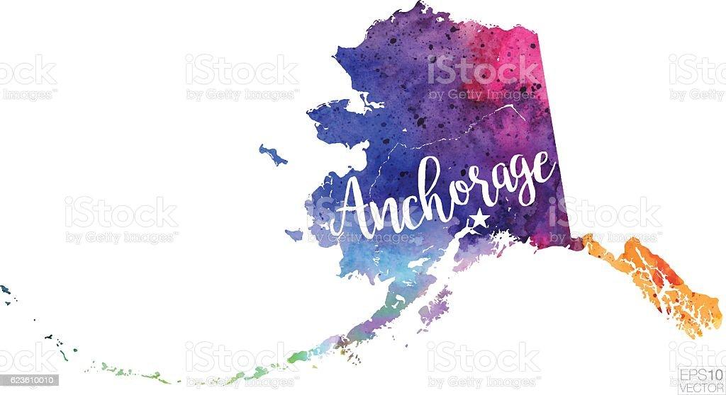 Anchorage, Alaska Vector Watercolor Map vector art illustration