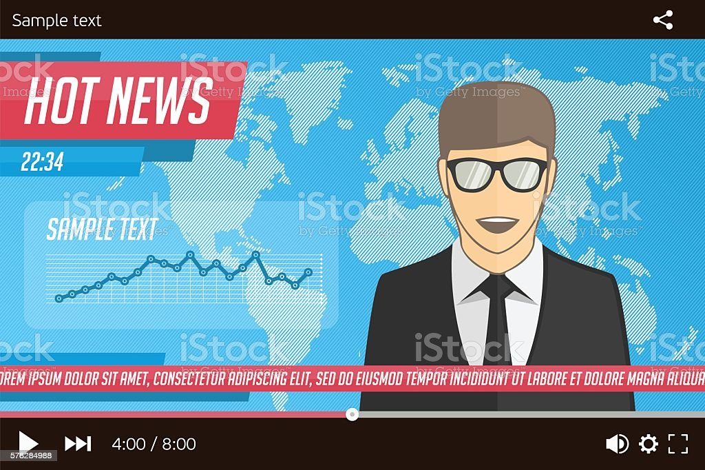 Anchorman news in video player vector art illustration