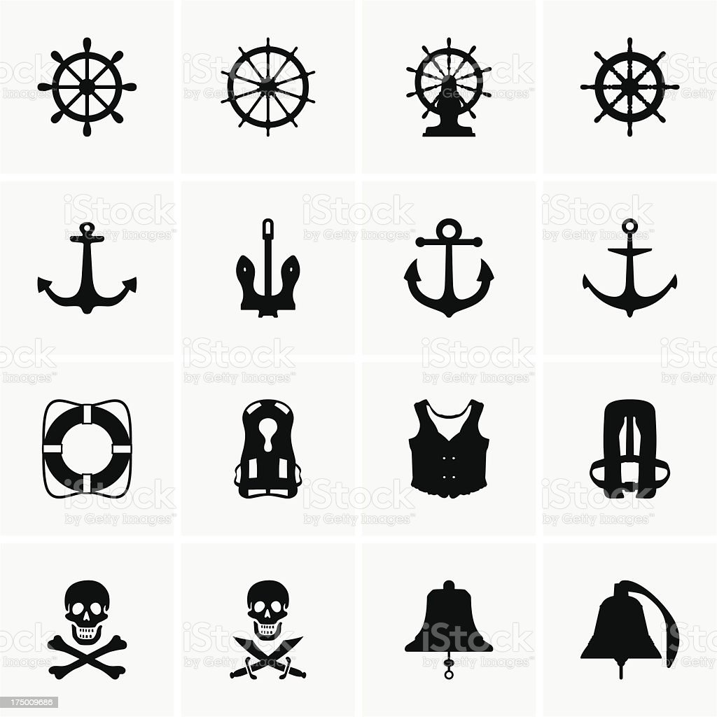 Anchors, wheels and other vector art illustration