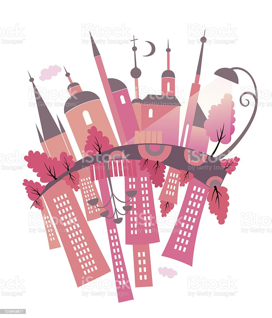Ancient and modern town. royalty-free stock vector art