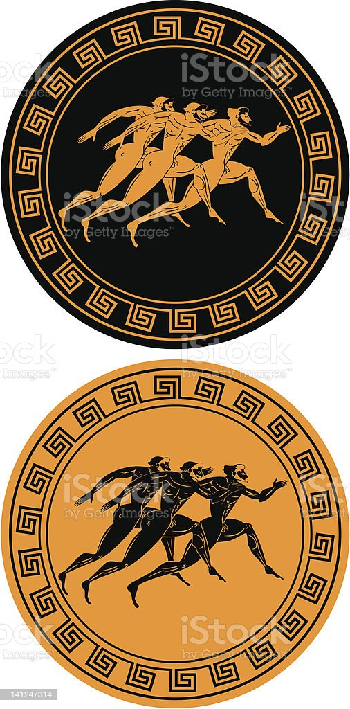 ancient athletes vector art illustration