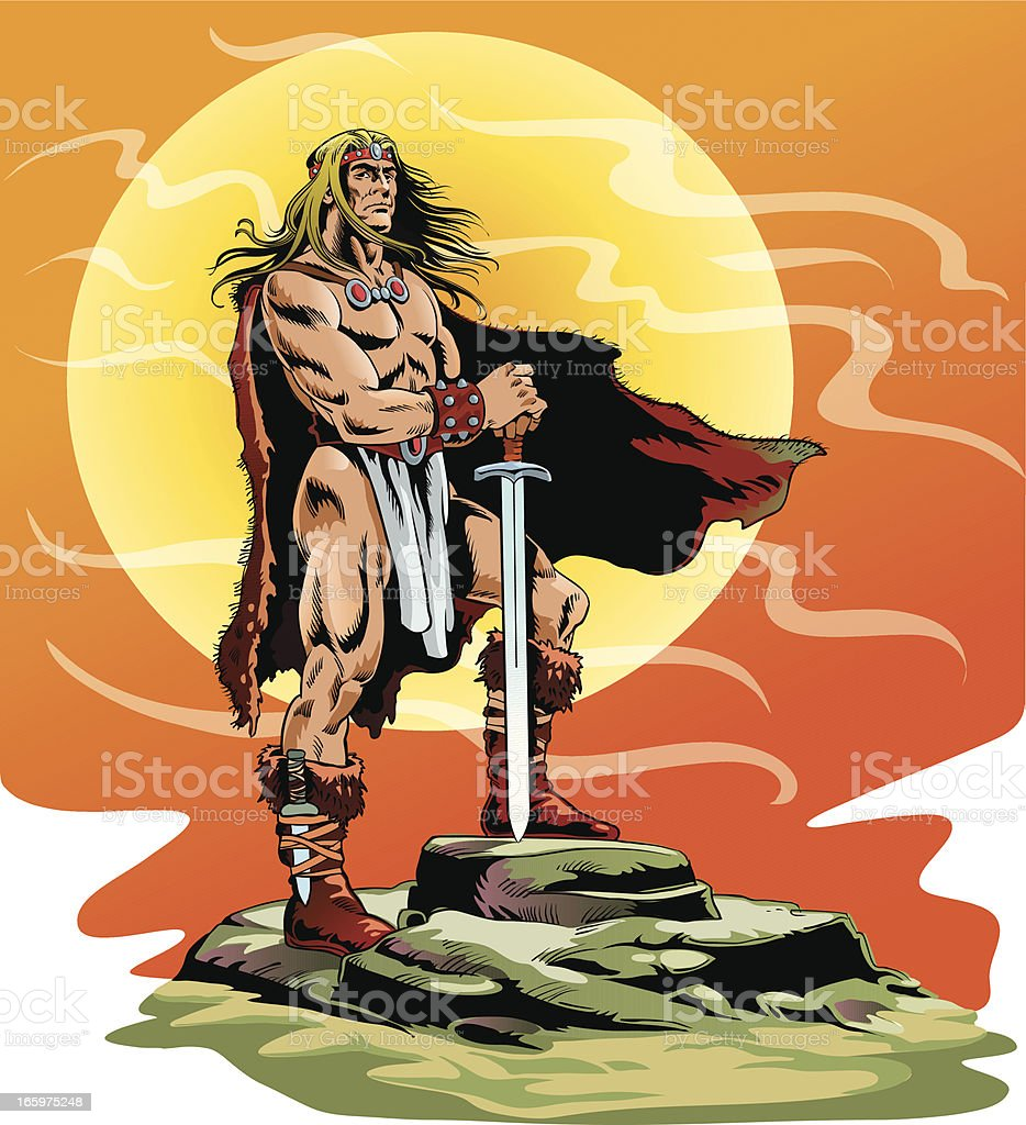 Ancient Barbarian Warrier Holding his Sword royalty-free stock vector art