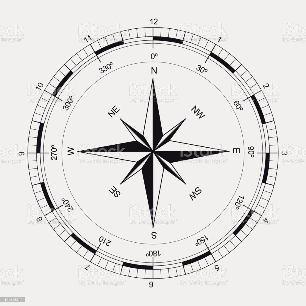 Ancient black and white compass vector art illustration
