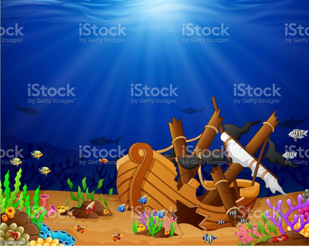 Ancient broken ship undersea vector art illustration