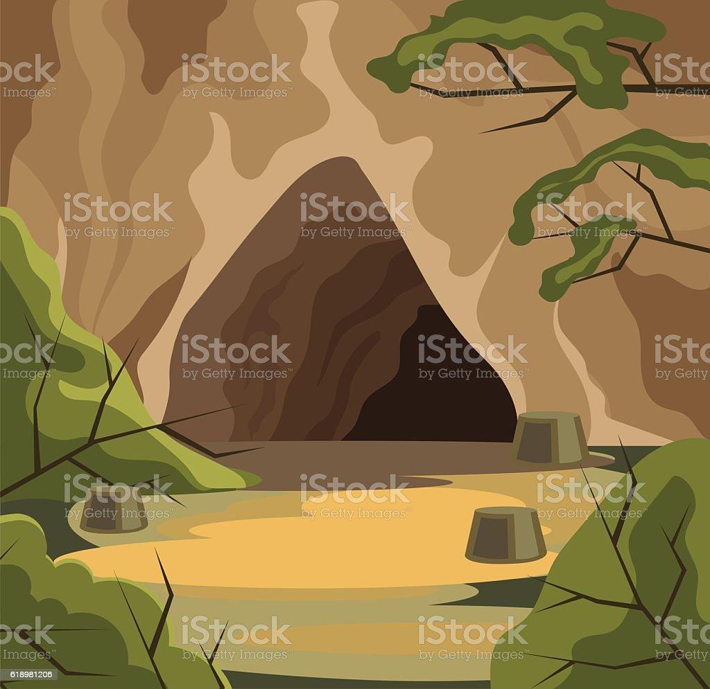 Ancient cave. Vector flat cartoon illustration vector art illustration