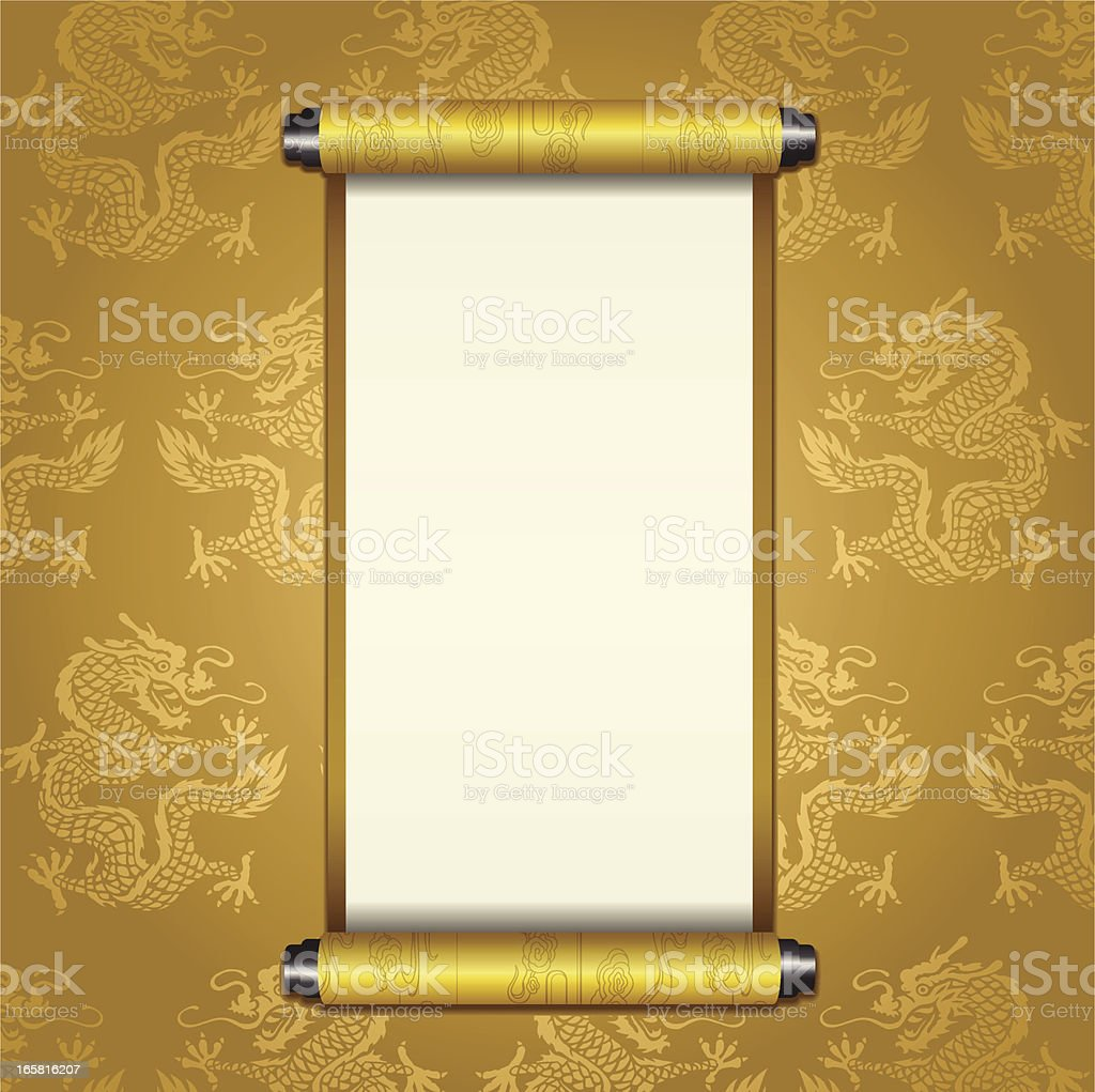 Ancient Chinese Scroll vector art illustration