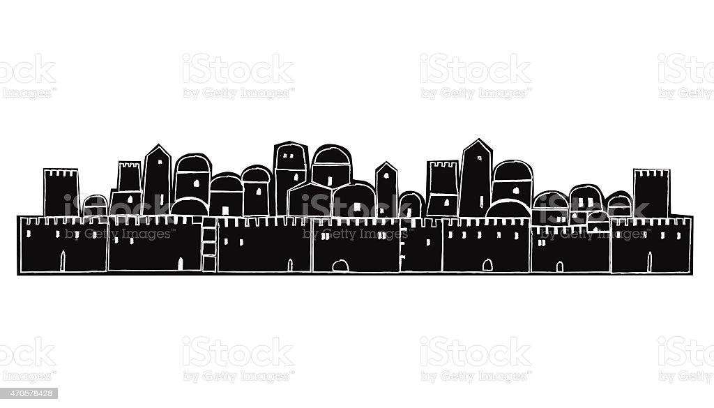 Ancient City, Jerusalem Walls, vector art illustration
