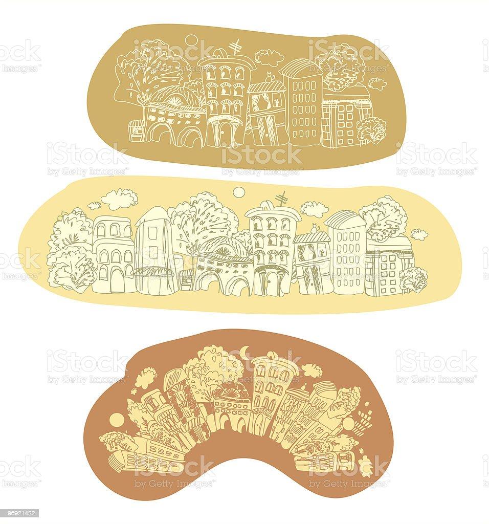 Ancient city vector art illustration
