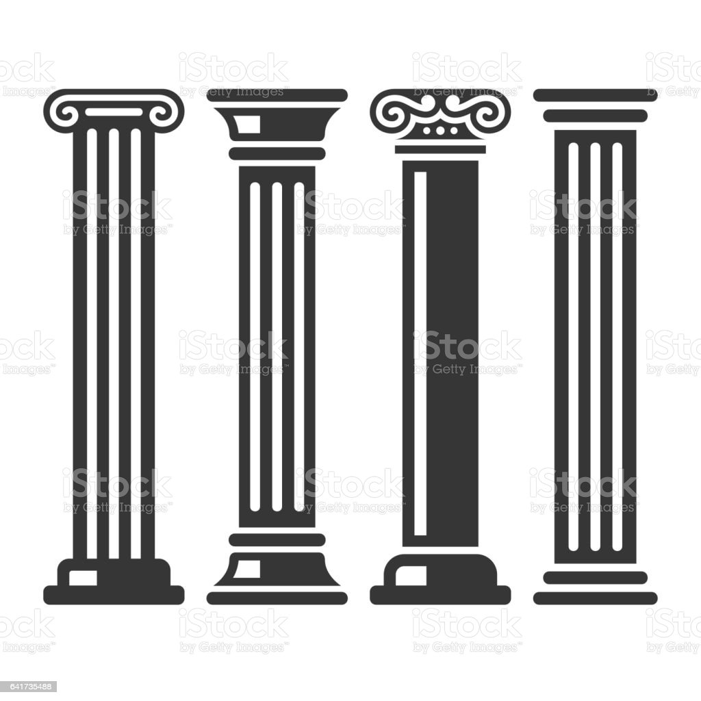 Ancient Columns Icon Set. Vector vector art illustration