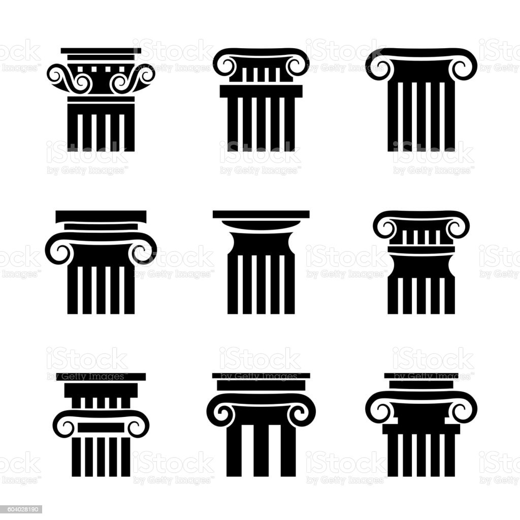 Ancient columns vector icons vector art illustration